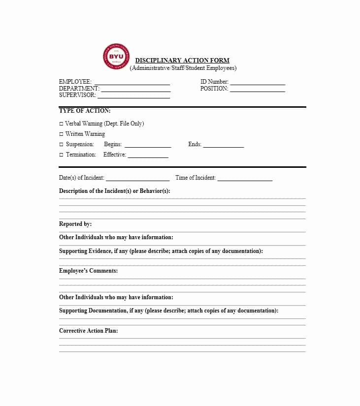Employee Disciplinary form Template Free Unique Disciplinary Action form