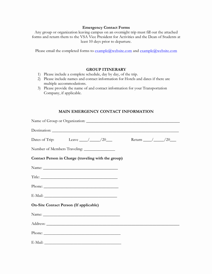 Employee Emergency Contact form Template Awesome Emergency Contact form Free Documents for Pdf
