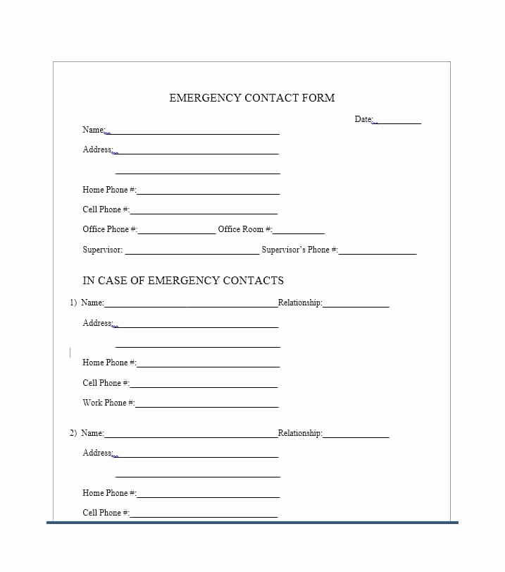 Employee Emergency Contact form Template Beautiful 54 Free Emergency Contact forms [employee Student]
