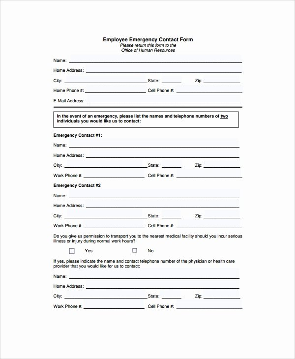 Employee Emergency Contact form Template Beautiful 8 Emergency Contact form Samples Examples Templates