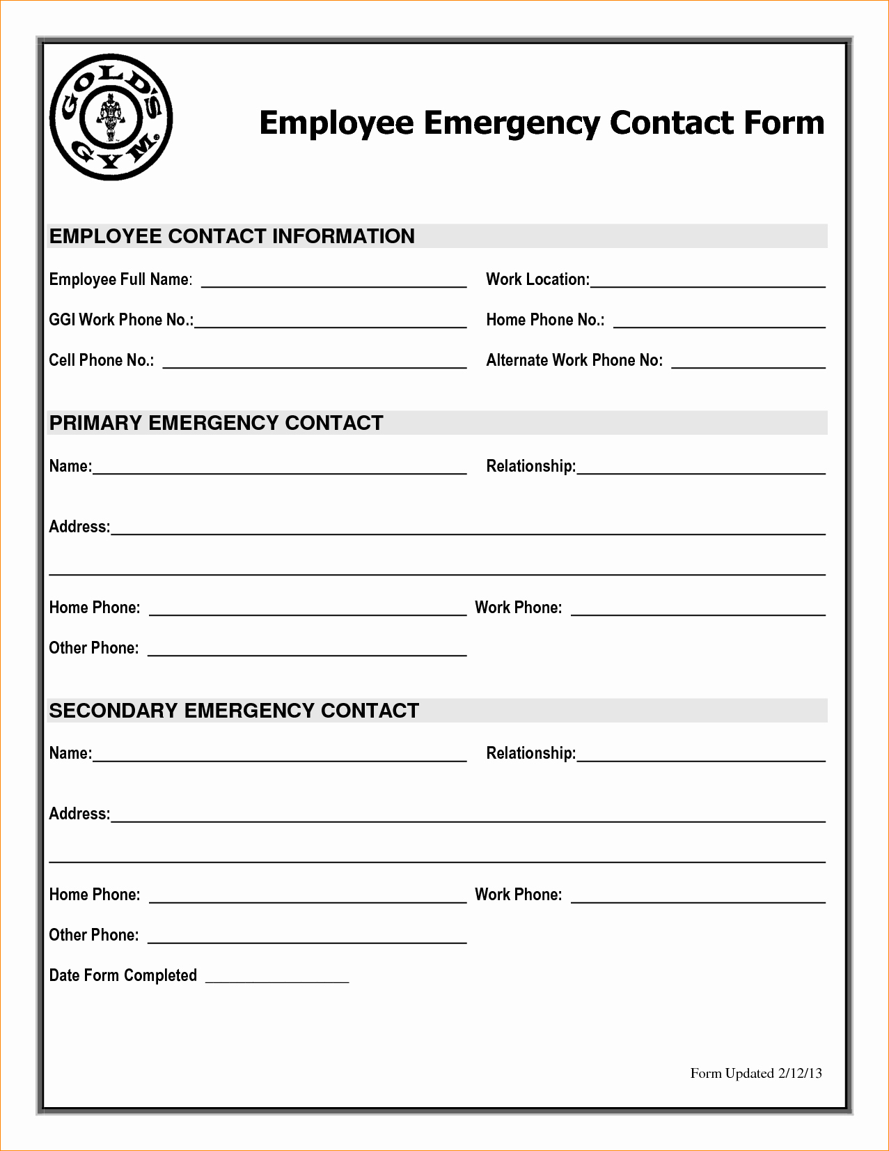 Employee Emergency Contact form Template Beautiful Employee Emergency Contact Printable form to Pin