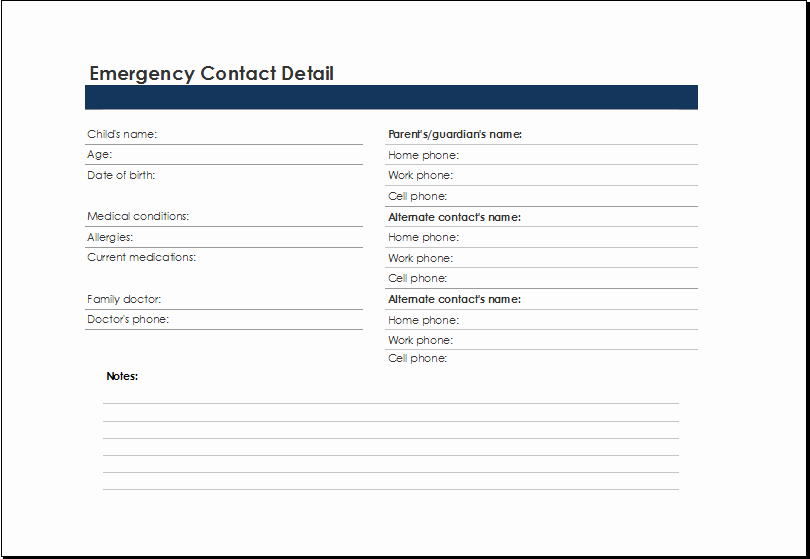 Employee Emergency Contact form Template Beautiful Printable Excel Emergency Contact List Template