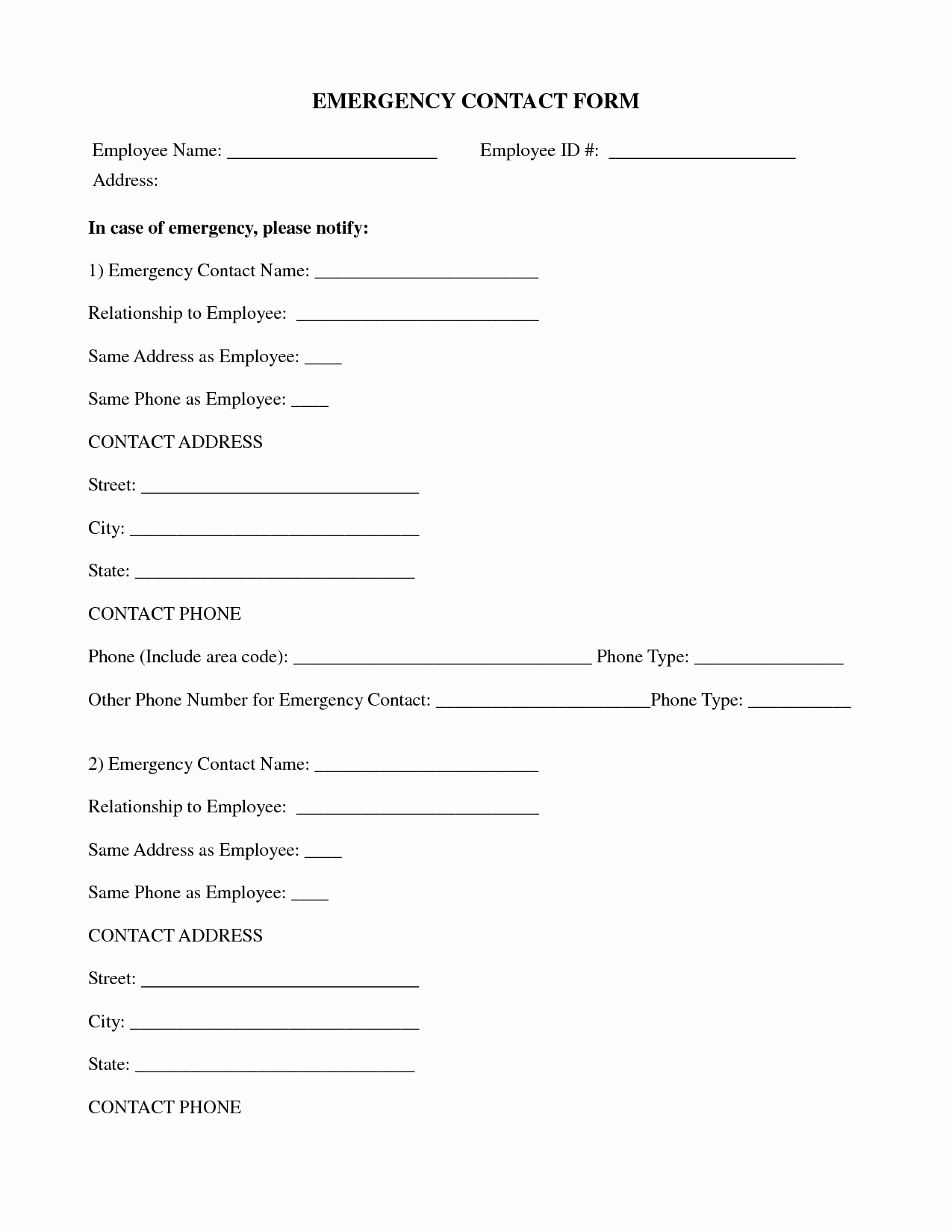 Employee Emergency Contact form Template Best Of Best S Of Contact form Template Contact Information