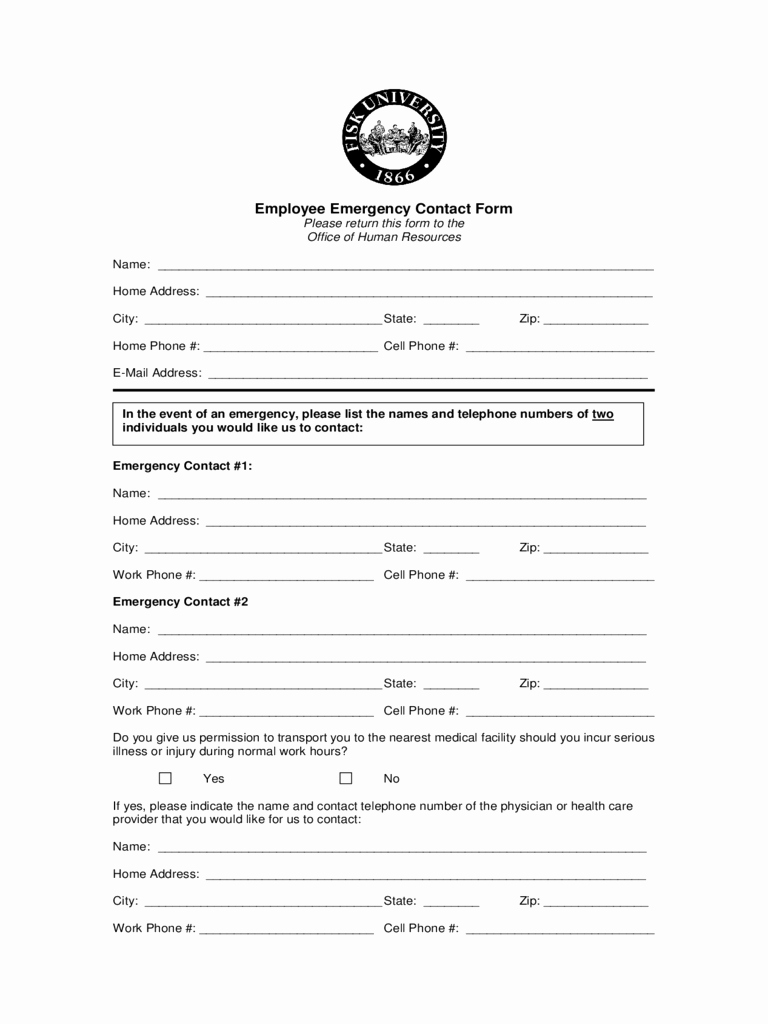 Employee Emergency Contact form Template Elegant Employee Emergency Contact form 2 Free Templates In Pdf