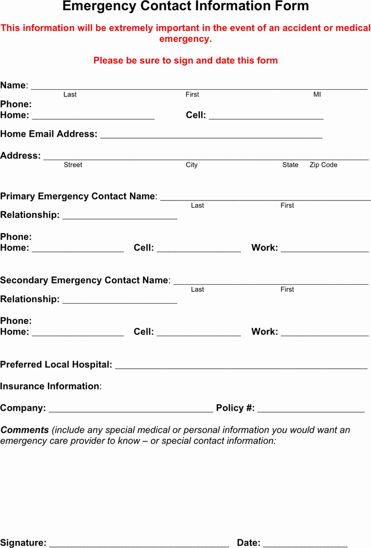 Employee Emergency Contact form Template Elegant Free Emergency Contact form Pdf 18kb