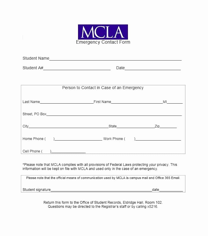 Employee Emergency Contact form Template Fresh 54 Free Emergency Contact forms [employee Student]
