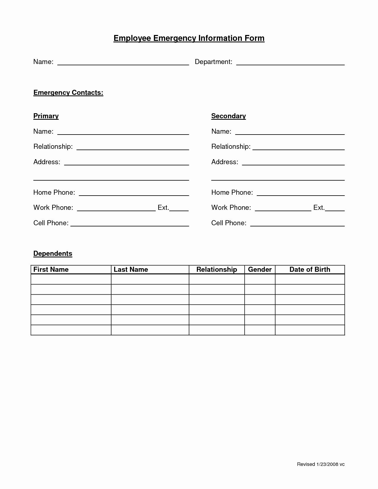 Employee Emergency Contact form Template Fresh Employee Emergency form