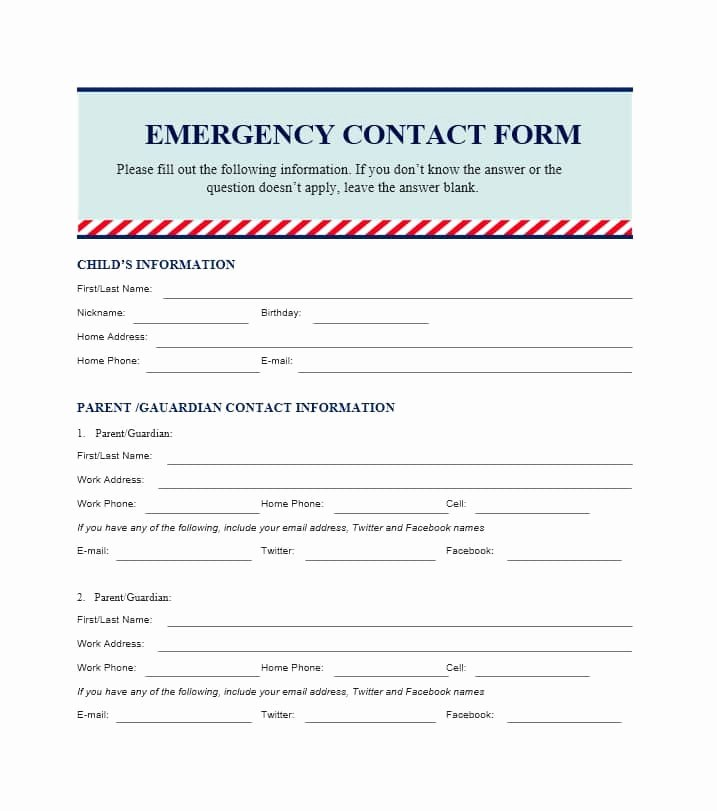 Employee Emergency Contact form Template Luxury 54 Free Emergency Contact forms [employee Student]