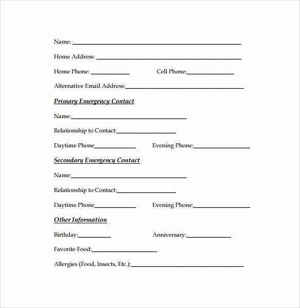 Employee Emergency Contact form Template Luxury Emergency Contact forms 11 Download Free Documents In