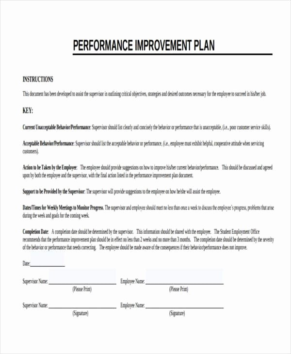 Employee Improvement Plan Template Luxury Free 14 Performance Improvement Plan Examples & Samples