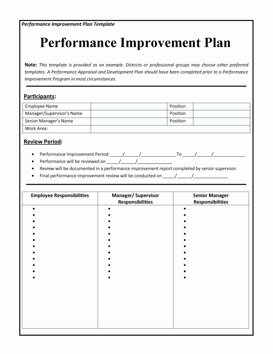 Employee Improvement Plan Template Unique 43 Free Performance Improvement Plan Templates & Examples