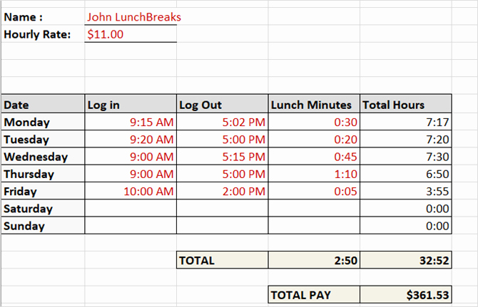 Employee Lunch Schedule Template Elegant Need A Timesheet Template to Track Your Hours Here are 12