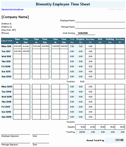 Employee Lunch Schedule Template Inspirational Download the Timesheet with 2 Breaks From Vertex42