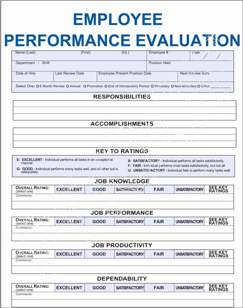 Employee Performance Appraisal form Template Inspirational Employee Performance Evaluation form Pdf