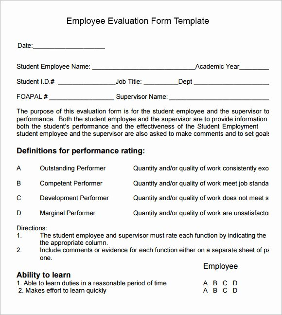 Employee Performance Appraisal form Template Lovely Employee Evaluation form Sample – 13 Free Examples format