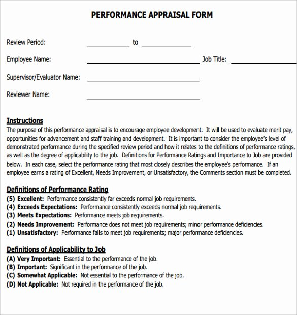 Employee Performance Appraisal form Template Unique Sample Job Performance Evaluation form 7 Documents In