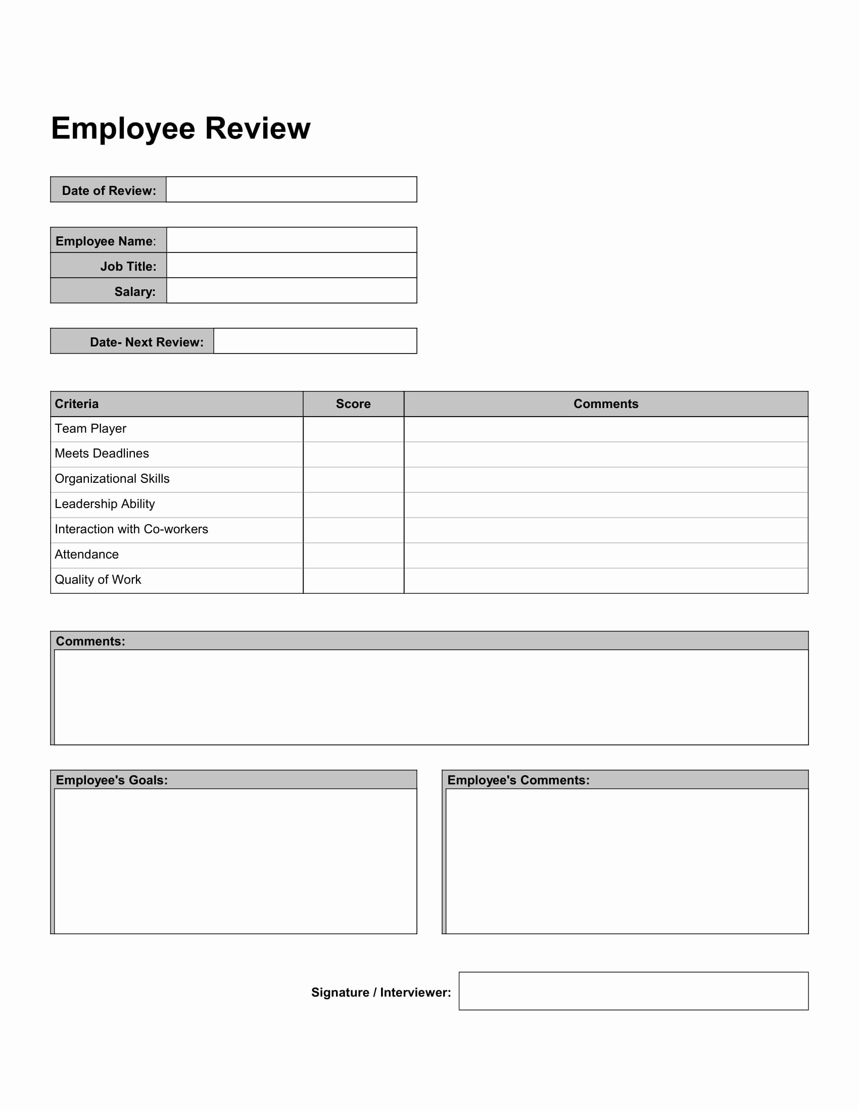 Employee Performance Review Template Free Best Of Free 10 Work Review forms In Pdf