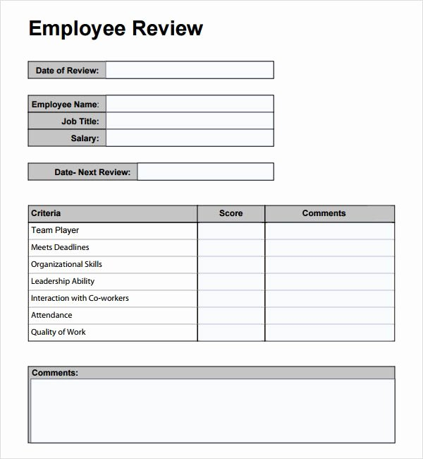 Employee Performance Review Template Free Fresh Free Employee Performance Review Template