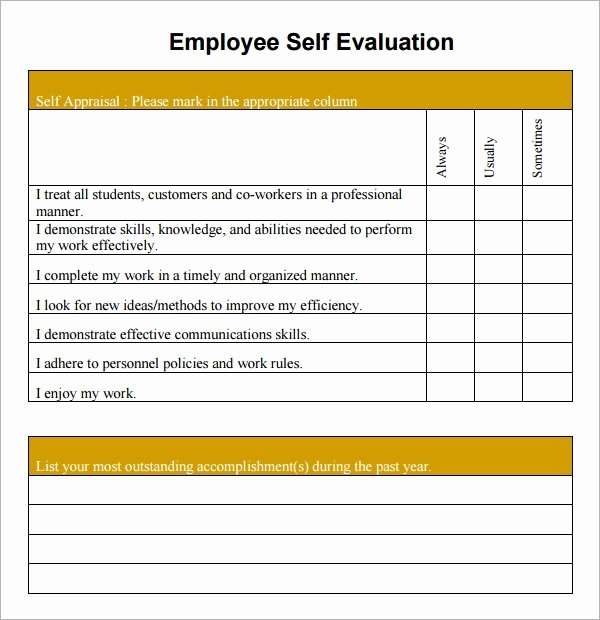 Employee Performance Review Template Free Lovely Free 14 Sample Employee Self Evaluation form In Pdf