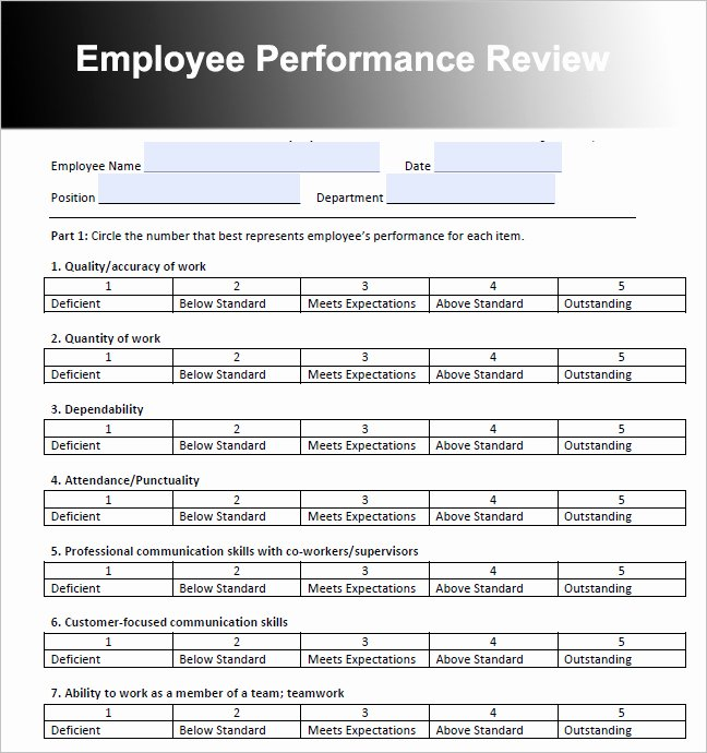 Employee Performance Review Template Free Lovely Survey Rating Scale Examples