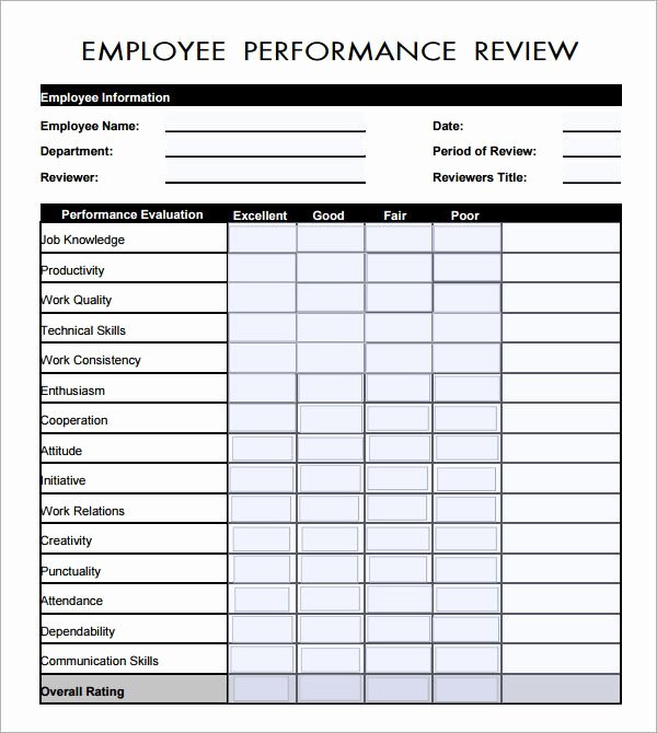 Employee Performance Review Template Free Unique Employee Evaluation form Pdf