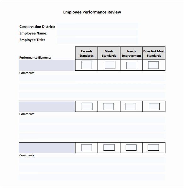 Employee Performance Review Template Word Awesome Sample Employee Performance Review Template 8 Free