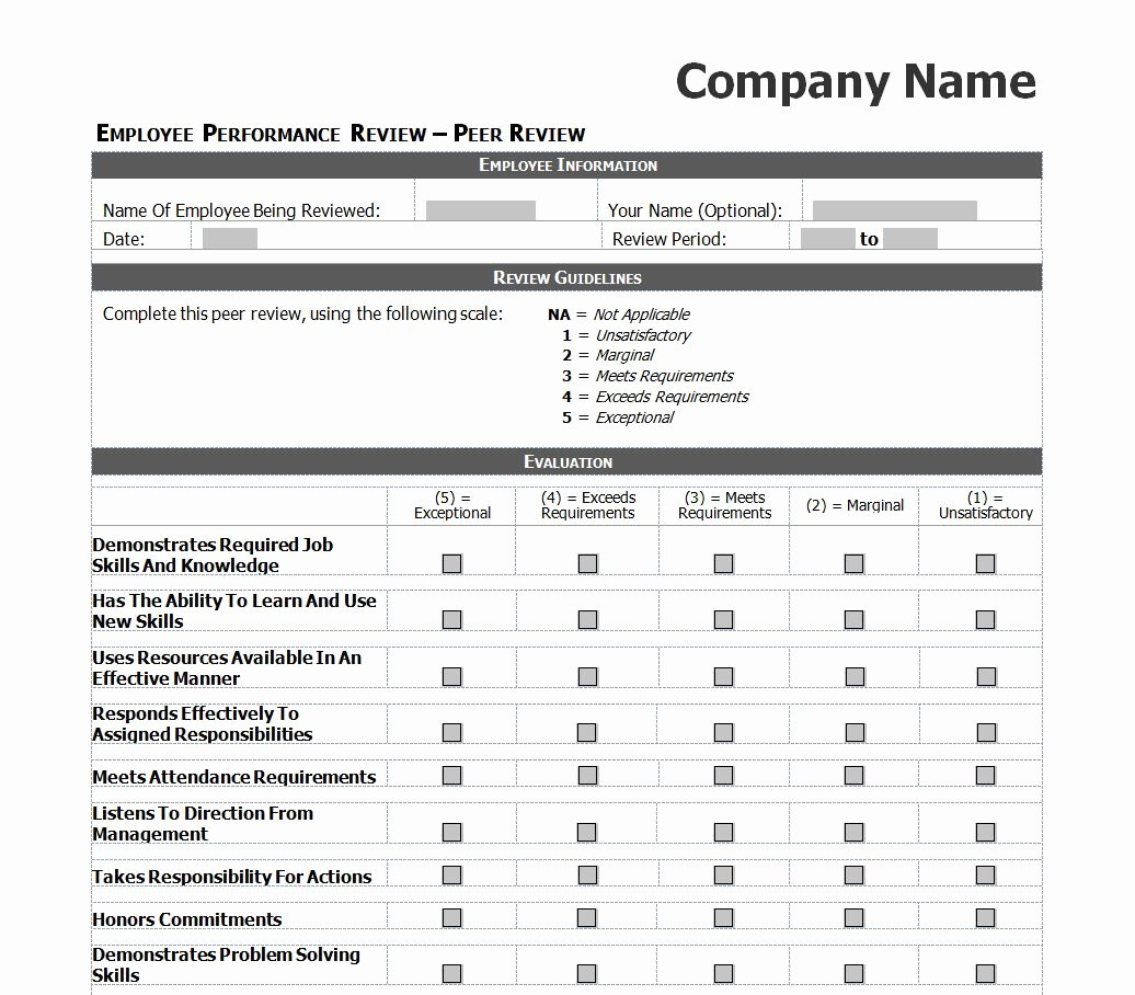 Employee Performance Review Template Word Fresh Employee Performance Review Checklist
