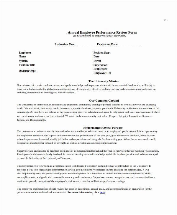 Employee Performance Review Template Word Fresh Employee Review Templates 13 Free Pdf Documents