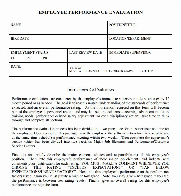 Employee Performance Review Template Word Lovely Free 7 Performance Evaluation In Samples Templates Examples