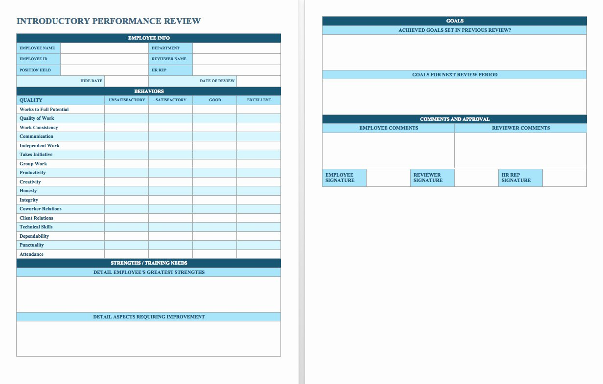 Employee Performance Review Template Word New Template for Employee Review – Printable Schedule Template