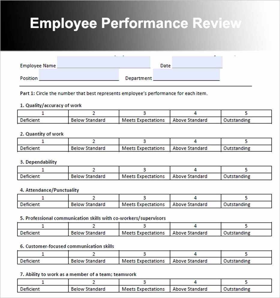 Employee Performance Review Template Word Unique Employee Review Template