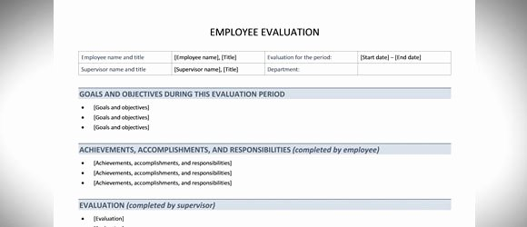 Employee Performance Review Template Word Unique Free Employee Evaluation Template for Word