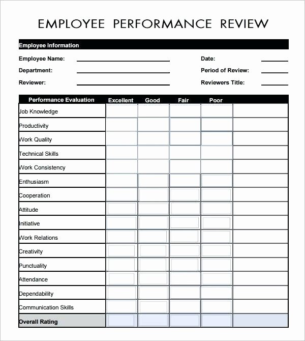 Employee Review form Template Free Best Of Employee Performance Appraisal form Template
