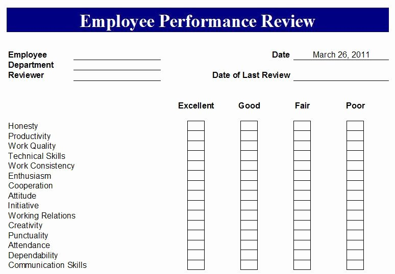 Employee Review form Template Free Elegant Free Employee Evaluation forms Printable Google Search