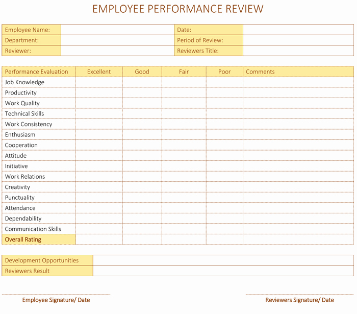 Employee Review form Template Free Inspirational Employee Performance Review Template for Word Dotxes