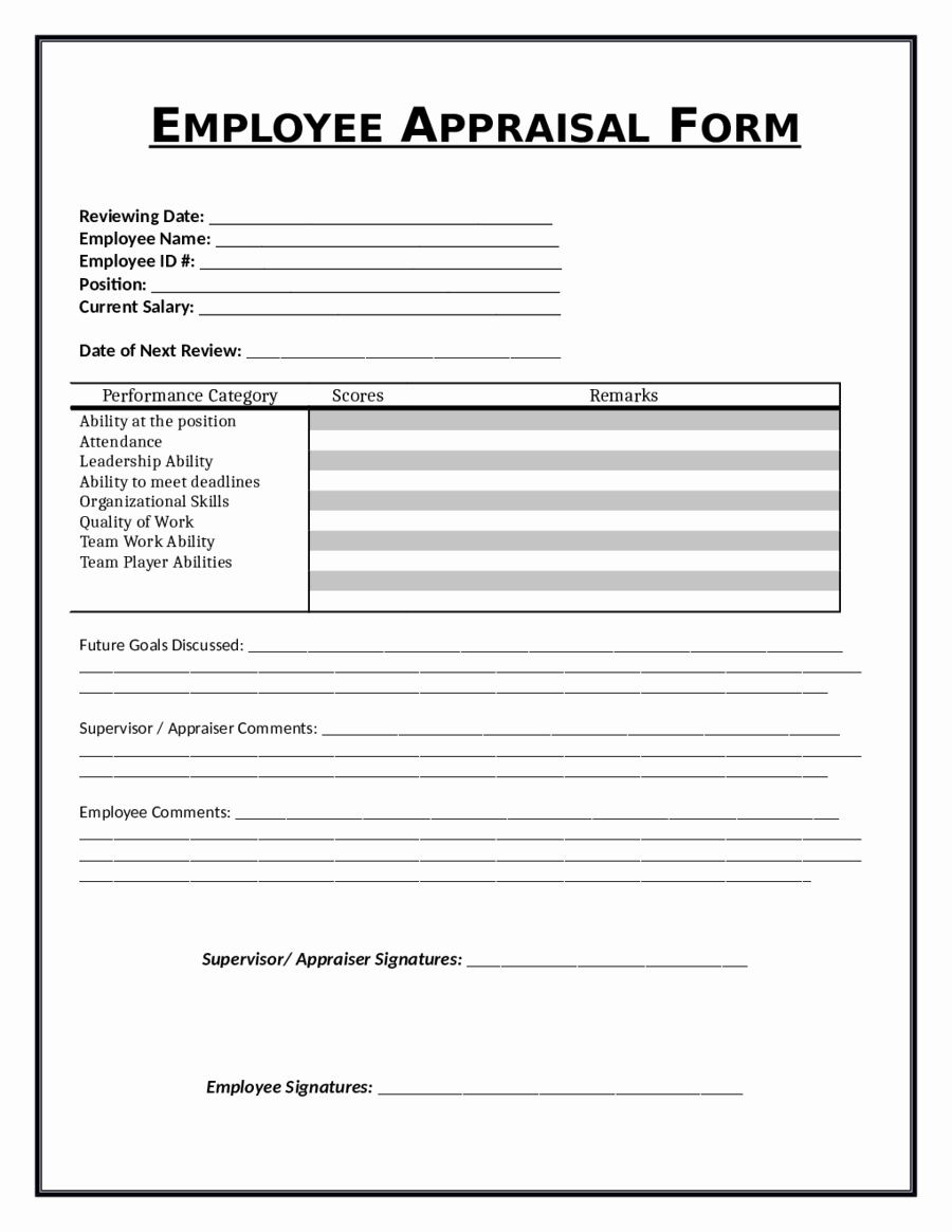 Employee Review form Template Inspirational 2019 Employee Evaluation form Fillable Printable Pdf