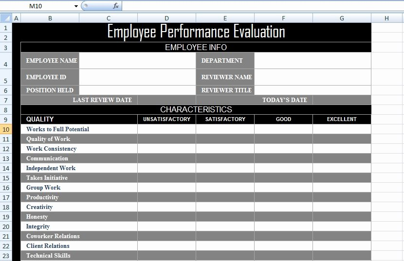 Employee Review form Template Unique Employee Performance Evaluation form Xls Free Excel