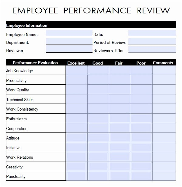 Employee Review form Template Unique Free 9 Sample Performance Evaluation Templates In Pdf