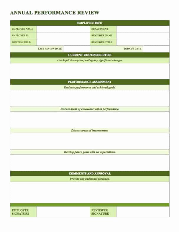 Employee Review form Template Unique Free Employee Performance Review Templates Smartsheet