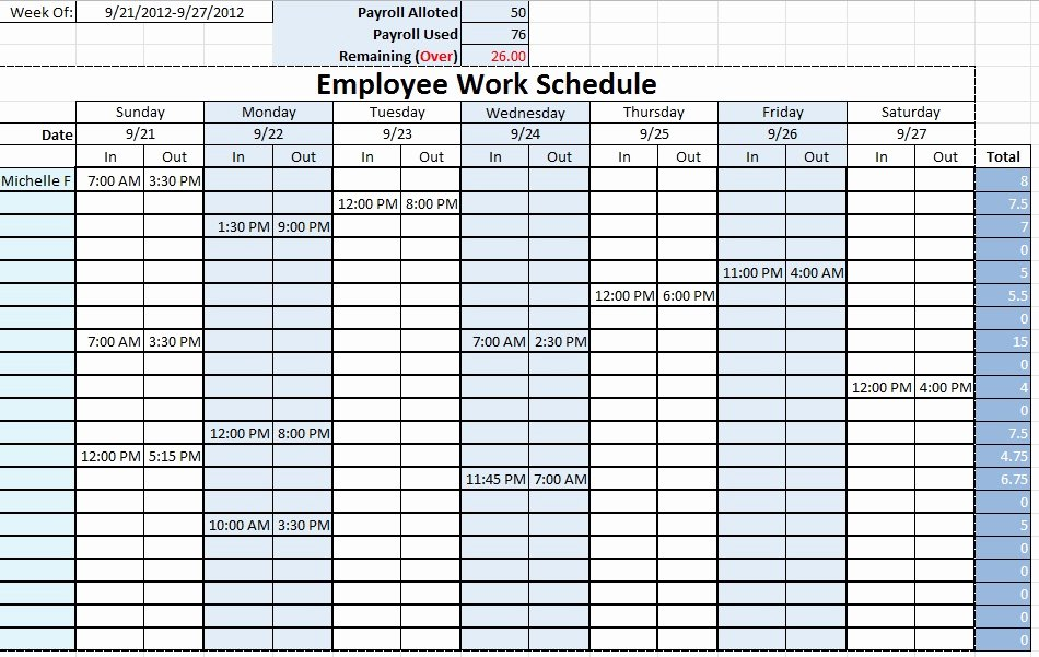 Employee Schedule Template Excel Awesome Employee Work Schedule Template Sample