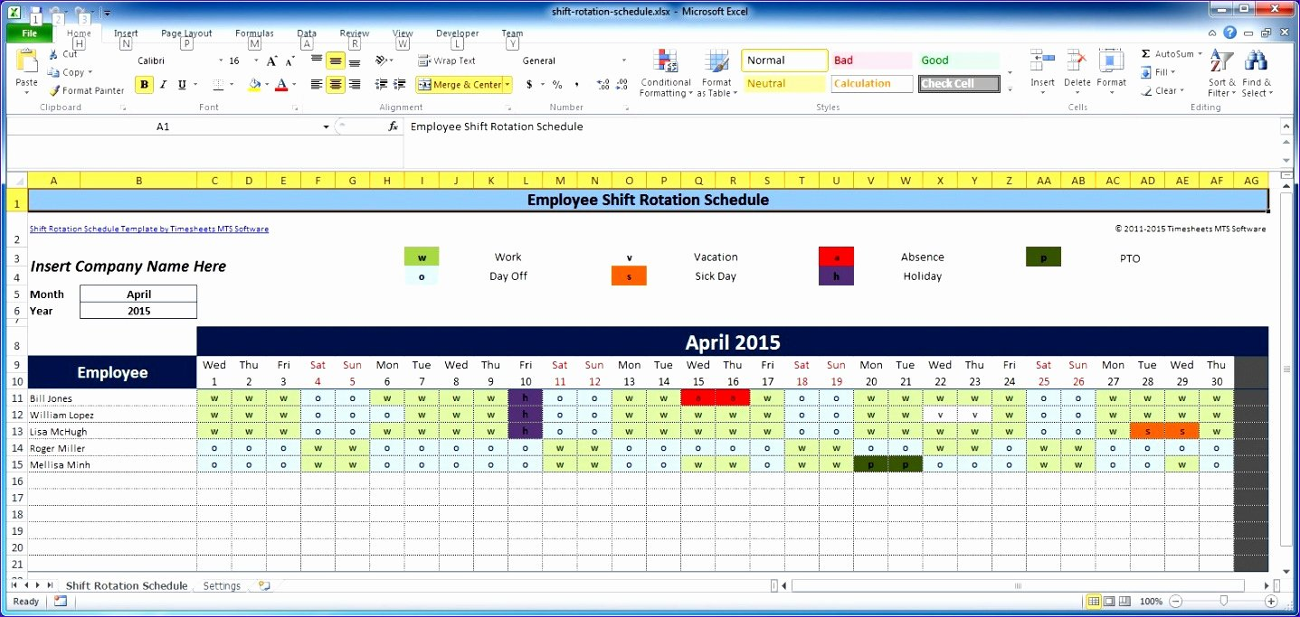 Employee Schedule Template Excel Inspirational 8 Monthly Employee Work Schedule Template Excel