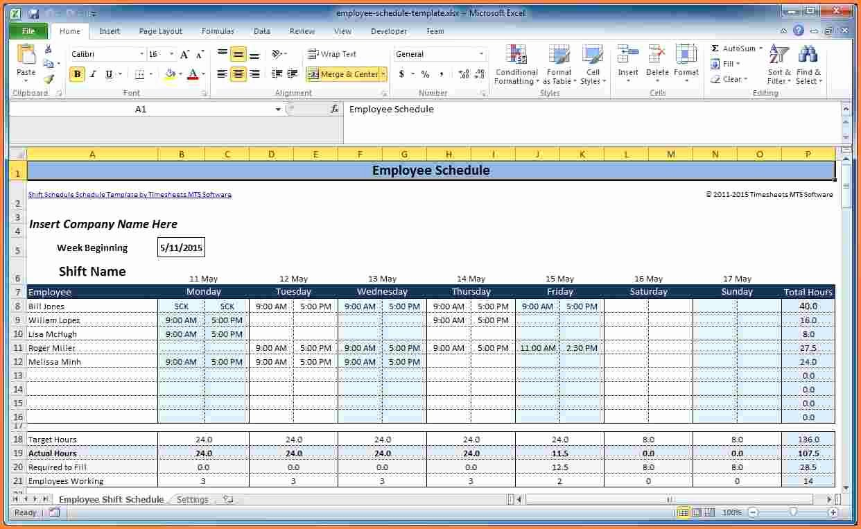 Employee Schedule Template Excel New 7 Employee Scheduling Spreadsheet Excel