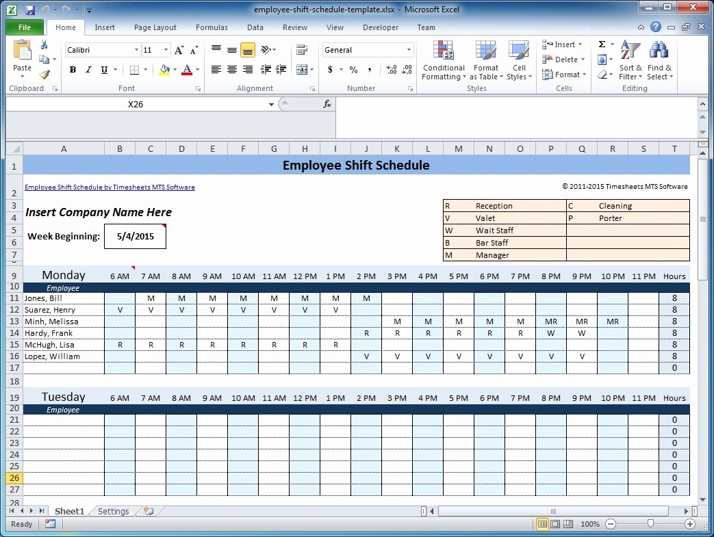 free staff rota spreadsheet