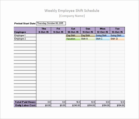 Employee Schedule Template Free Download Beautiful Work Schedule Templates – 8 Free Word Excel Pdf format
