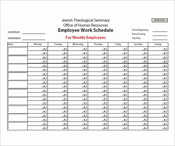 Employee Schedule Template Free Download Lovely Employee Schedule Template 5 Download Free Documents In
