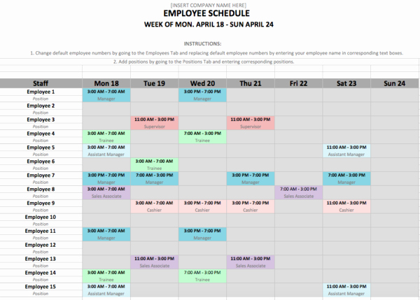 Employee Schedule Template Word Lovely 10 Free Weekly Schedule Templates for Excel – Savvy
