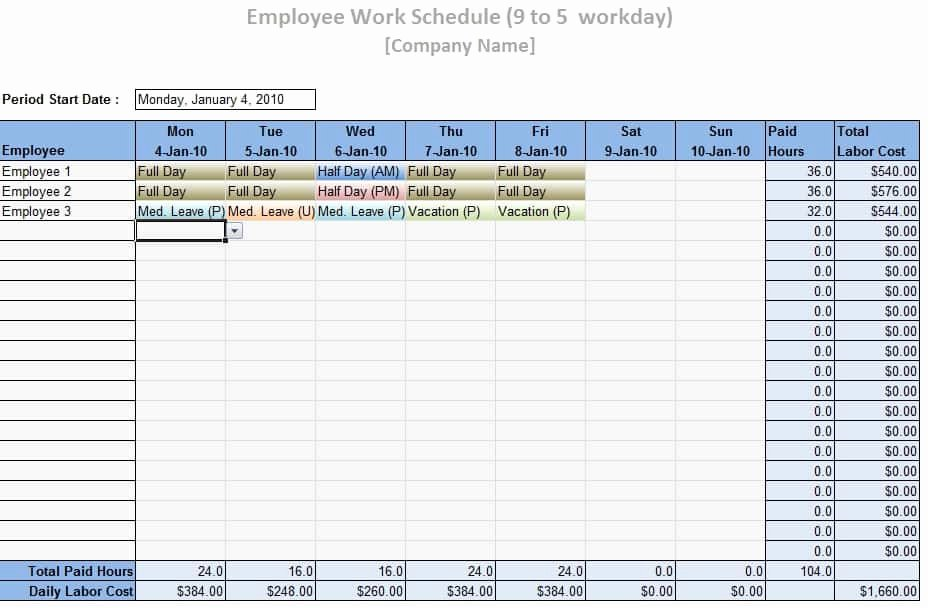 Employee Schedule Template Word Lovely Employee Work Schedule Template Word Excel