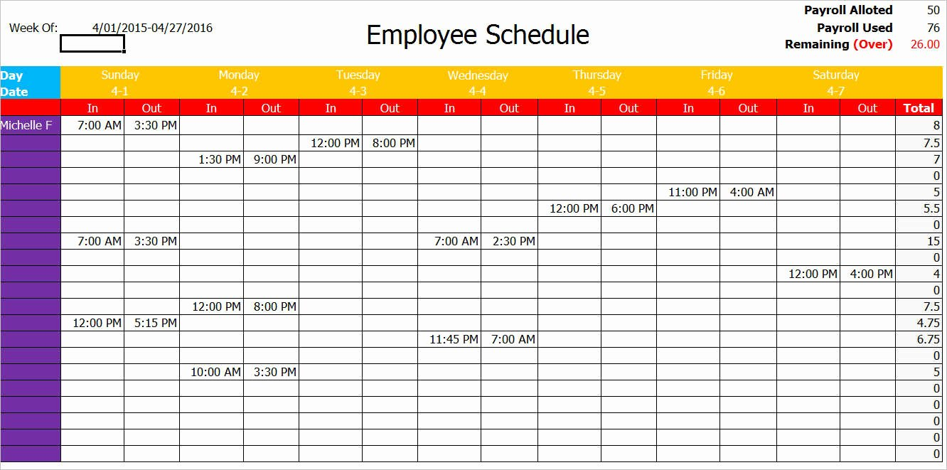 Employee Schedule Template Word New Work Schedule Template Pdf – Printable Schedule Template