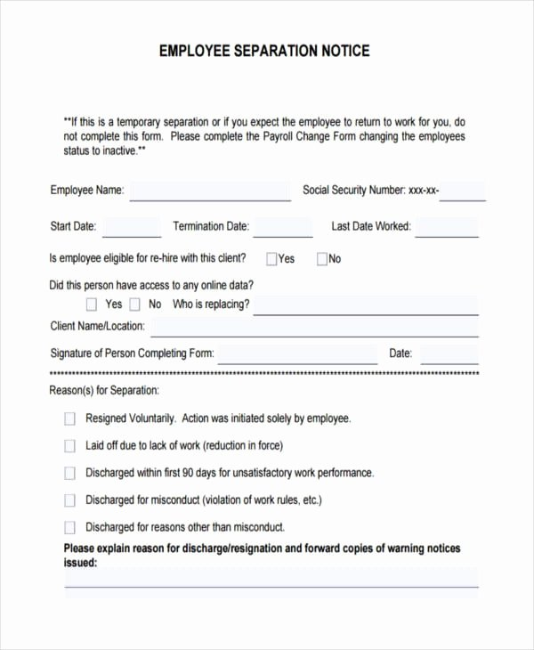 Employee Separation form Template Awesome Free 46 Notice Examples In Pdf