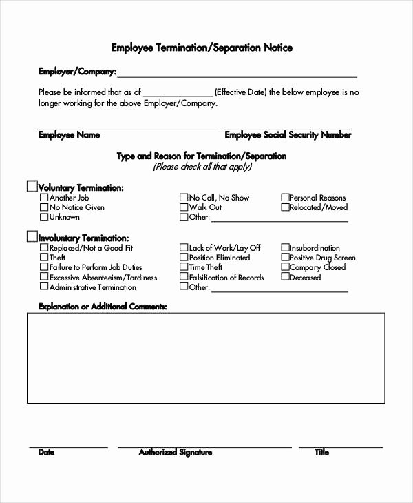 Employee Separation form Template Beautiful 14 Separation Notice Templates Google Docs Ms Word